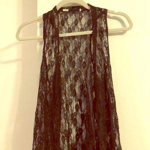 Black sleeveless lace vest
